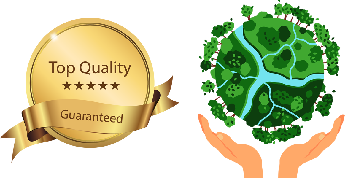 top quality and environment friendly logo